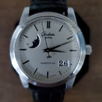 Glashütte Original Senator Panorama Date Moon Phase pre-owned 39mm Silver Moon phase Date Leather