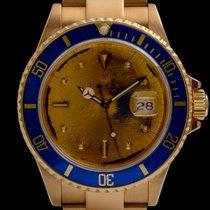 Rolex Oro amarillo Automático Azul Sin cifras 40mm usados Submariner Date