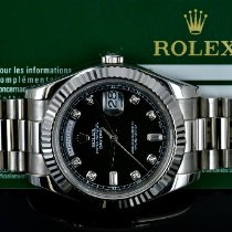 Rolex White gold Automatic Black No numerals 41mm new Day-Date II