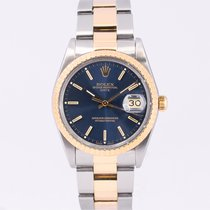 Rolex Oyster Perpetual Date Gold/Steel 34mm Blue No numerals
