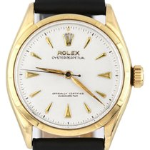Rolex Yellow gold Automatic White 34mm pre-owned Oyster Perpetual 34