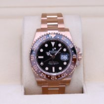 Rolex Or rose Remontage automatique Noir Sans chiffres 40mm nouveau GMT-Master II