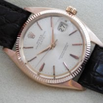 Rolex Rose gold Automatic Champagne No numerals 35mm pre-owned Oyster Perpetual Date