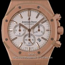 Audemars Piguet Or rose Remontage automatique Argent Sans chiffres 41mm occasion Royal Oak Chronograph