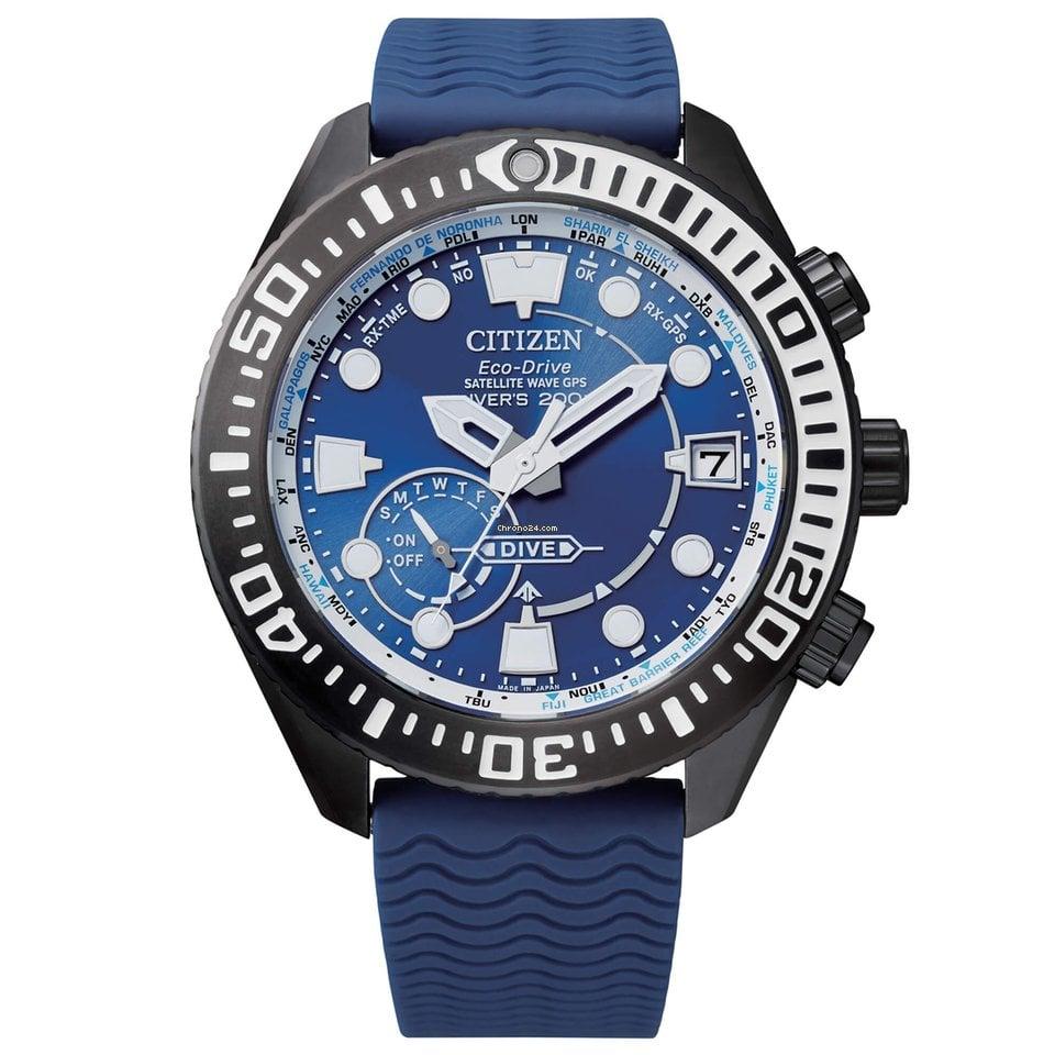 Citizen Promaster CC5006-06L Citizen Promaster Eco Drive Satellite Wave Diver 47mm Blu Cassa Super Titanium Cinturino Gomma Blu GPS 2020 new