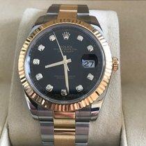 Rolex Datejust Or/Acier 41mm Noir Sans chiffres