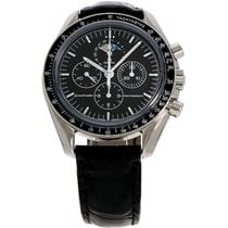 Omega Speedmaster Professional Moonwatch Moonphase occasion 42mm Noir Phase lunaire Chronographe Date Cuir de crocodile