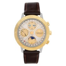 Universal Genève Compax pre-owned 39mm Champagne Moon phase Chronograph Date Weekday Leather