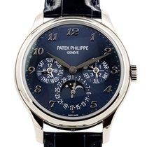 Patek Philippe Perpetual Calendar occasion 39mm Bleu Date Affichage des mois Calendrier perpétuel Cuir de crocodile
