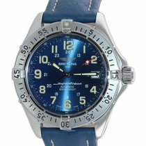 Breitling Superocean pre-owned 41mm Blue Date Leather
