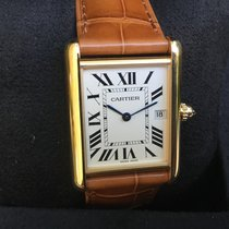 Cartier Yellow gold Quartz Silver Roman numerals new Tank Louis Cartier
