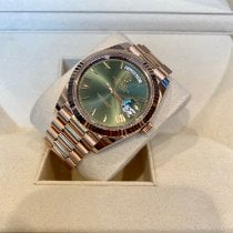 Rolex Day-Date 40 Or rose 40mm Vert Romains