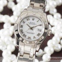 Rolex Lady-Datejust Pearlmaster Bílé zlato 29mm Bílá