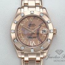 Rolex Ouro rosa Automático Romanos 34mm usado Lady-Datejust Pearlmaster