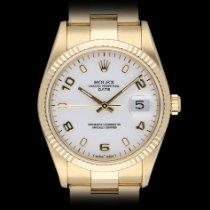 Rolex Oyster Perpetual Date Geelgoud 34mm Wit Geen cijfers