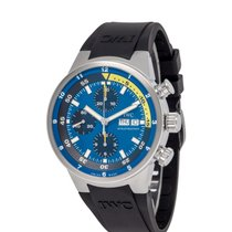 IWC Steel Automatic Blue 44mm pre-owned Aquatimer Chronograph