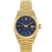 Rolex Or jaune Remontage automatique Bleu Sans chiffres 26mm occasion Lady-Datejust