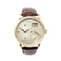 A. Lange & Söhne Little Lange 1 pre-owned 36mm Silver Panorama date Crocodile skin