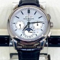 Patek Philippe Perpetual Calendar Chronograph Bjelo zlato 41mm Srebro Bez brojeva
