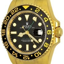 Rolex Yellow gold Automatic Black No numerals 41mm pre-owned GMT-Master II