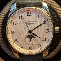 Longines Master Collection pre-owned 42mm Silver Moon phase Date Crocodile skin