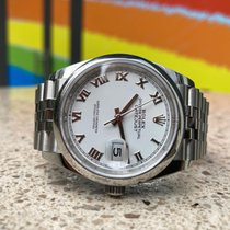 Rolex Datejust Acier 36mm Blanc Romains