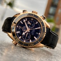 Omega Or rose Remontage automatique Noir Sans chiffres 45.5mm occasion Seamaster Planet Ocean Chronograph