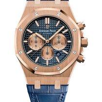 Audemars Piguet Royal Oak Chronograph Or rose 41mm Bleu Sans chiffres
