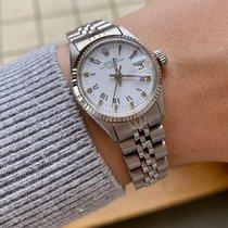 Rolex Oyster Perpetual Lady Date Or/Acier 26mm Argent Sans chiffres