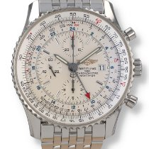 Breitling Navitimer World pre-owned 46mm Silver Chronograph Date GMT Steel
