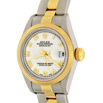 Rolex Oyster Perpetual Lady Date Acier 25mm Blanc Romains