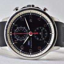 IWC Portugieser Yacht Club Chronograph gebraucht 45mm Schwarz Chronograph GMT/Zweite Zeitzone Kautschuk