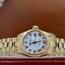 Rolex Oyster Perpetual Lady Date Or jaune 26mm Blanc Romains