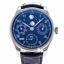 IWC Portuguese Perpetual Calendar pre-owned 44mm Blue Moon phase Perpetual calendar Leather