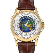 Patek Philippe World Time pre-owned 39.5mm Silver Crocodile skin
