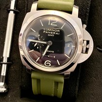 Panerai Luminor 1950 8 Days GMT pre-owned 44mm Black Date GMT Leather