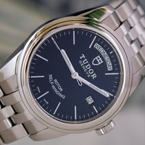 Tudor Glamour Date-Day Acero 39mm Negro Sin cifras