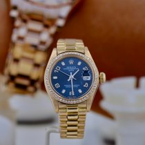 Rolex Yellow gold Automatic Blue Arabic numerals 26mm pre-owned Oyster Perpetual Lady Date