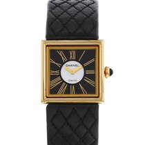 Chanel Or jaune Quartz Noir Romains 23mm occasion Mademoiselle