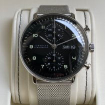 Junghans max bill Chronoscope Stal 40mm Czarny