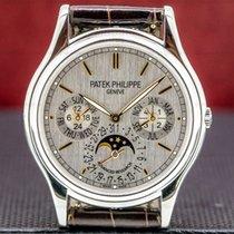 Patek Philippe Perpetual Calendar occasion 37mm Argent Phase lunaire Date Affichage des mois Calendrier perpétuel Platine
