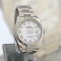 Rolex Aço Automático Branco 36mm usado Datejust