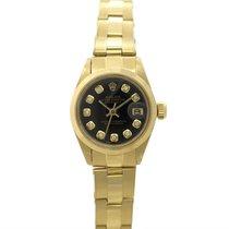 Rolex Or jaune Remontage automatique Noir Sans chiffres 26mm occasion Oyster Perpetual Lady Date