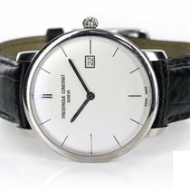 Frederique Constant Slimline pre-owned 40mm Silver Date Leather