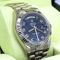 Rolex White gold Automatic Blue Roman numerals 41mm pre-owned Day-Date II