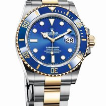 Rolex Submariner Date Acero y oro 41mm Azul Sin cifras