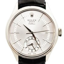 Rolex Cellini Dual Time White gold 39mm Silver No numerals