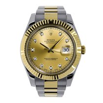 Rolex Steel Automatic Champagne No numerals 41mm pre-owned Datejust II