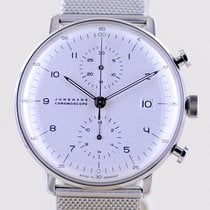 Junghans max bill Chronoscope Stal 40mm Biały Bez cyfr