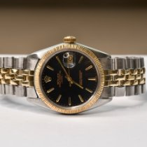 Rolex Oyster Perpetual Date Gold/Steel 34mm Black No numerals